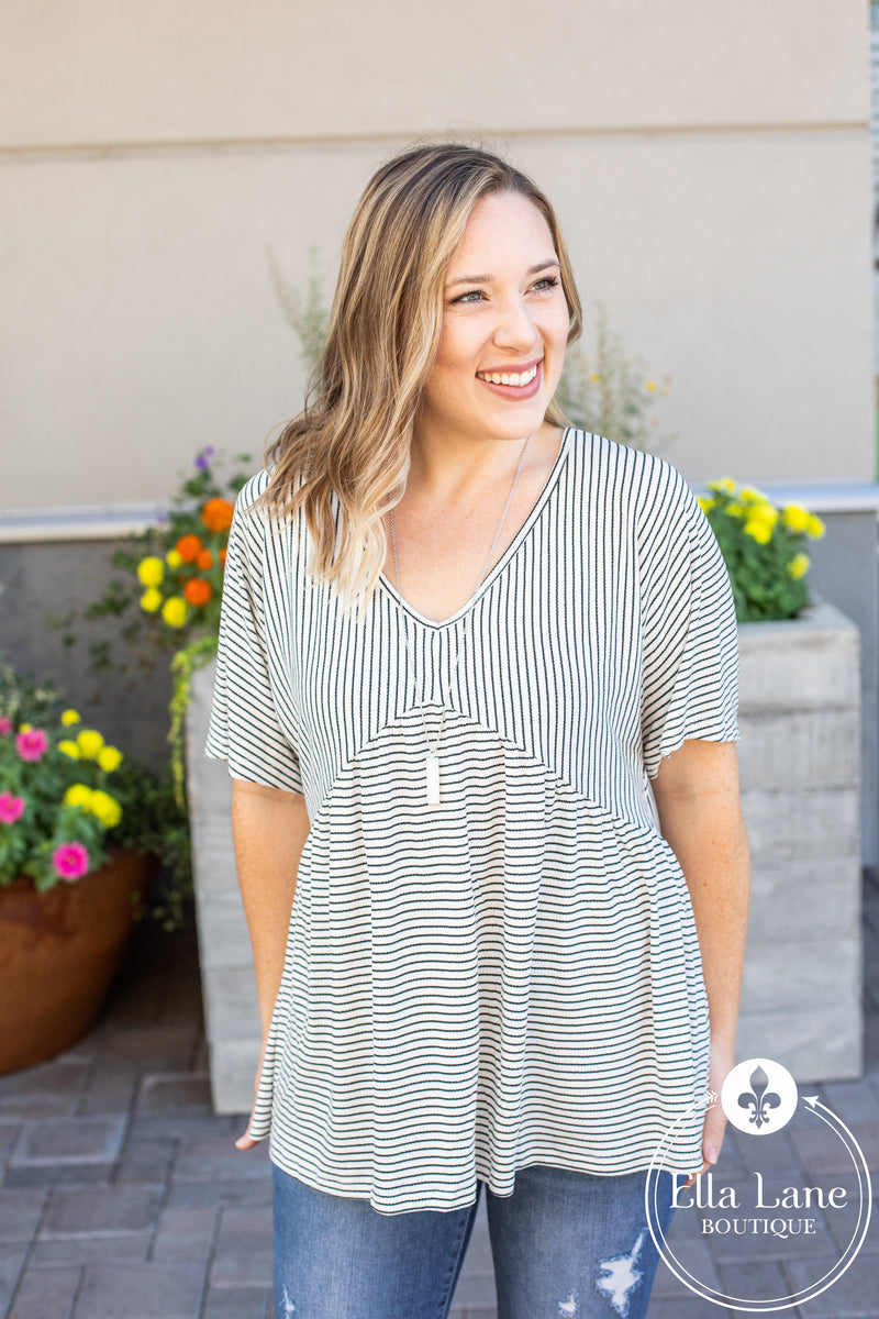 Striped Babydoll Top - Ivory FINAL SALE