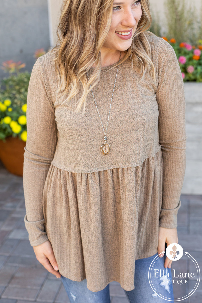 Rylie Long Sleeve Peplum Top - Taupe