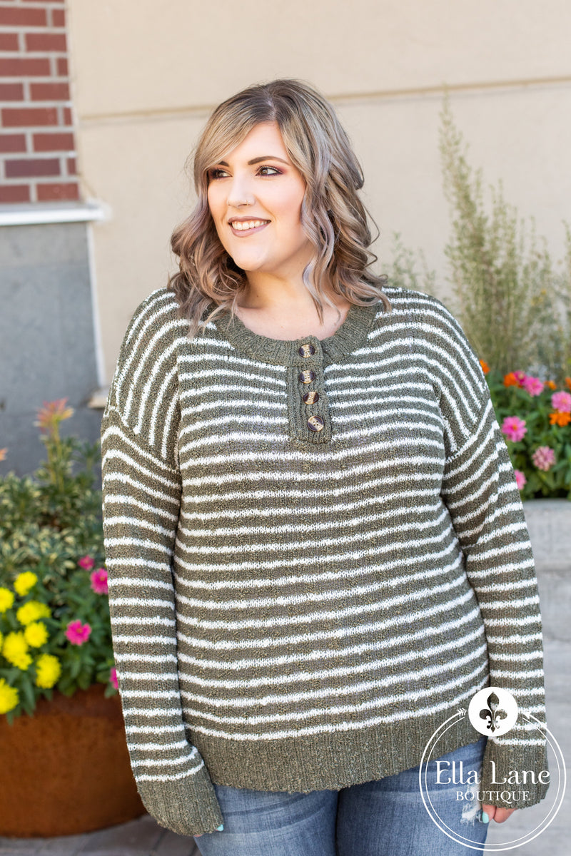 Janelle Striped Sweater - Olive FINAL SALE