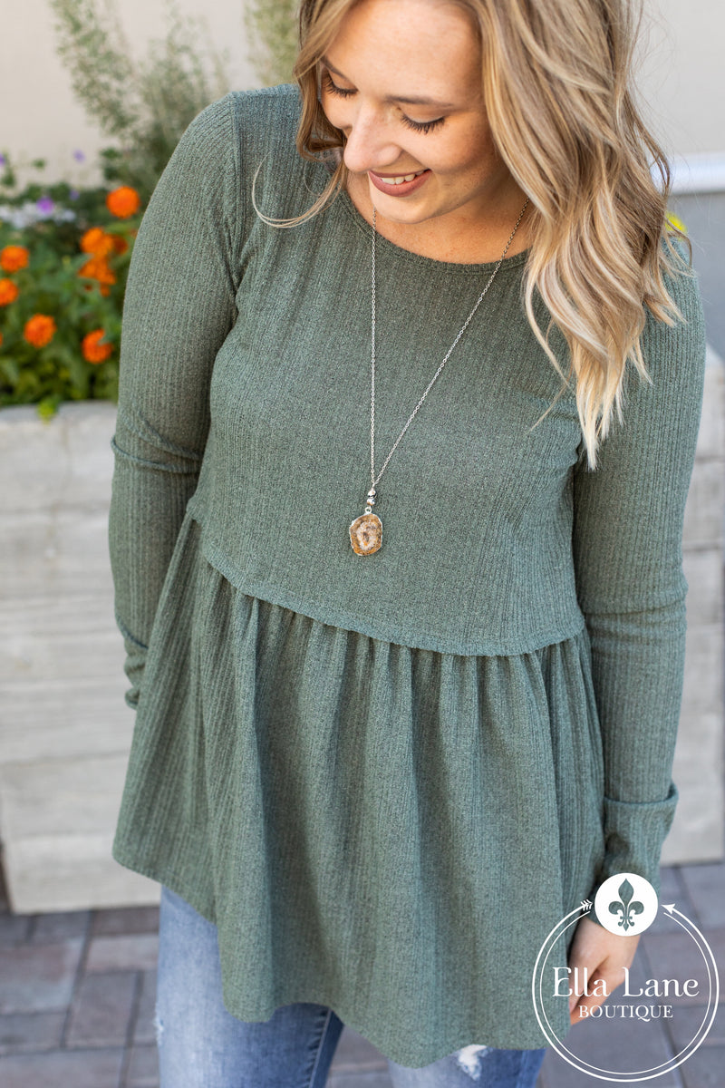 Rylie Long Sleeve Peplum Top - Olive