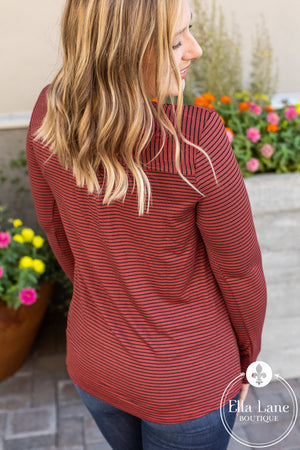 Button Henley Striped Top - Brick/Black
