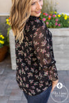 Sandra Black Floral Blouse FINAL SALE