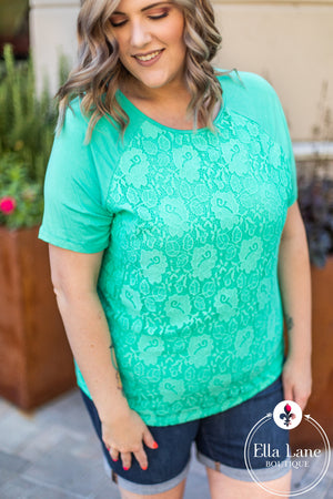 Michelle Mae Lace Front Tee - Mint