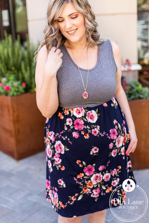 Michelle Mae Navy Floral Tank Dress