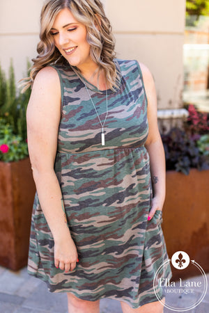 Sleeveless Camo Knit Dress