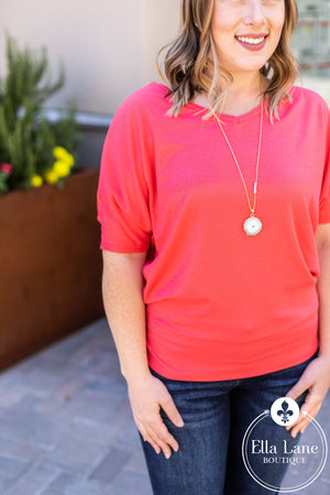 Waffle Knit Dolman Top - Coral FINAL SALE