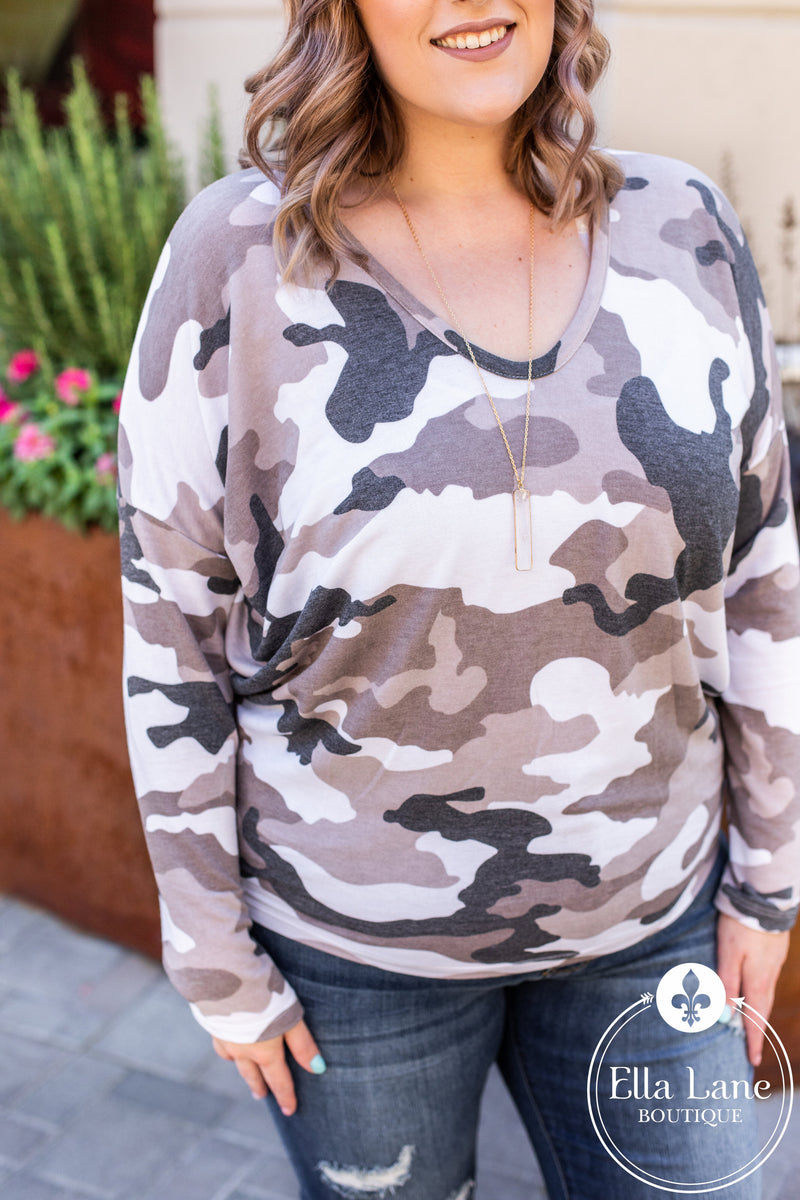 Camo Dolman Long Sleeve Top