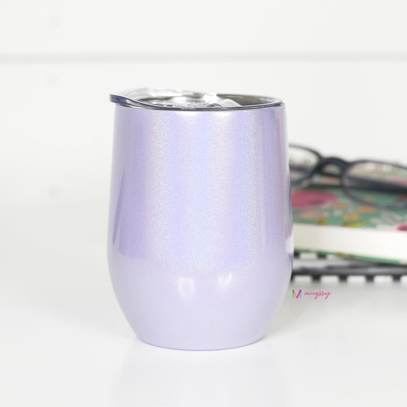 Lavender Rainbow Glitter Wine Cup