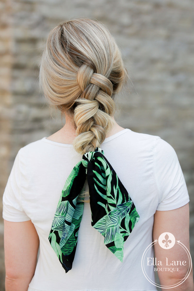 Ponytail Scarf - Palm Leaves