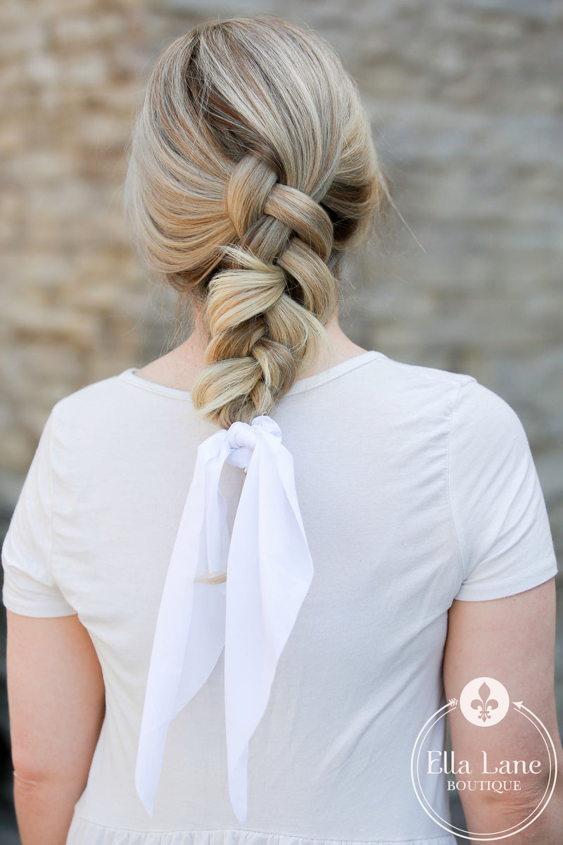 Ponytail Scarf - White