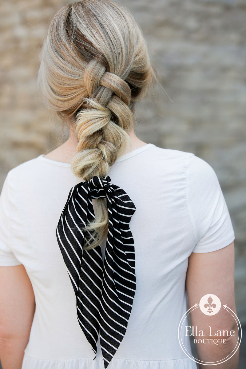 Ponytail Scarf - Black Stripe