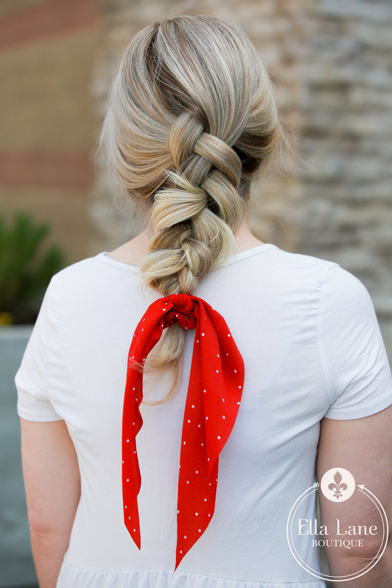 Ponytail Scarf - Red Polka Dot