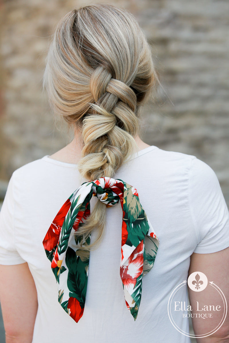 Ponytail Scarf - Tropical White