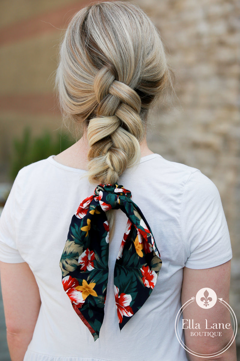 Ponytail Scarf - Tropical Navy