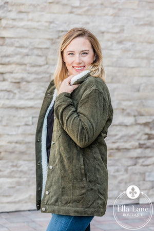 Corduroy Fleece Lined Jacket - Olive