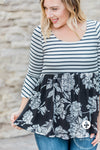 Floral and Stripes Peplum Top