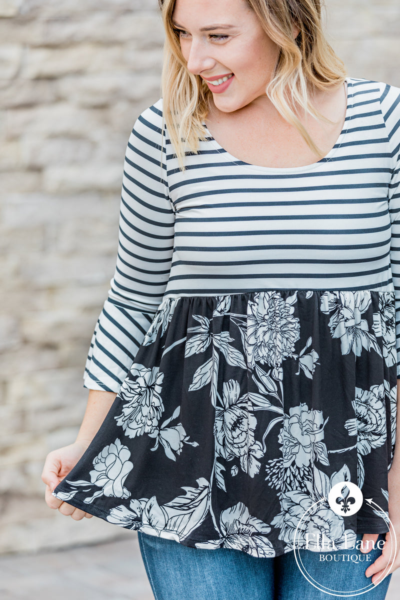 Floral and Stripes Peplum Top FINAL SALE