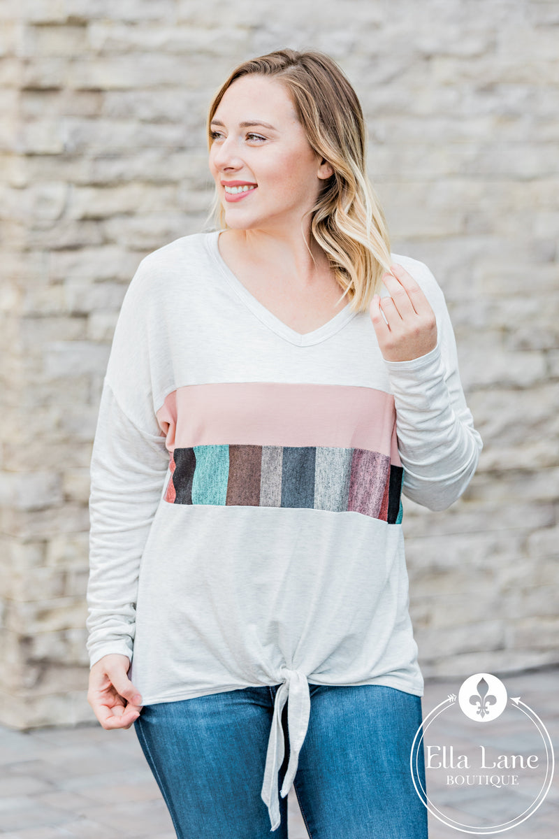 Heathered Colorblock Long Sleeve Top