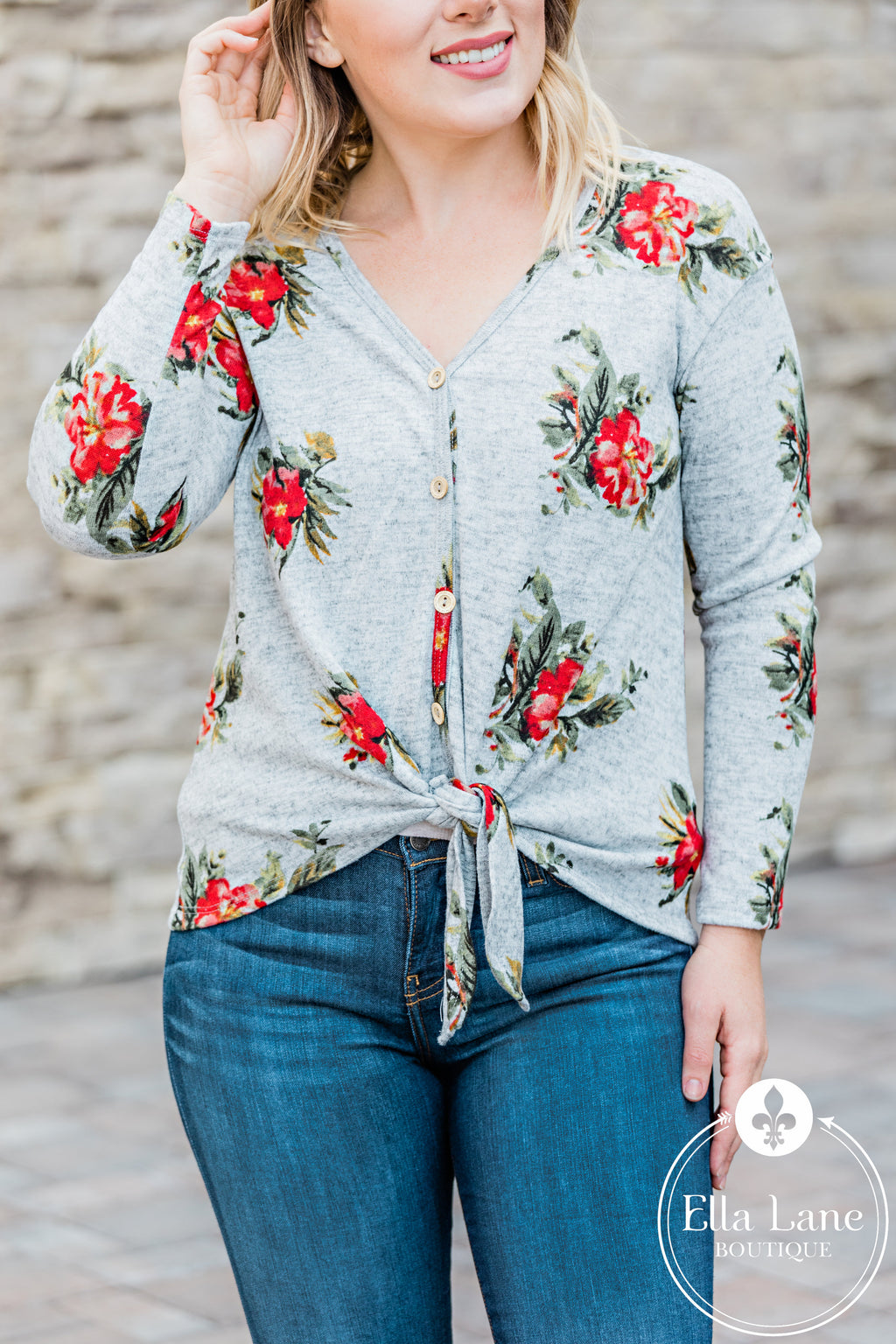 Annabelle Floral Front Tie Top - Grey FINAL SALE