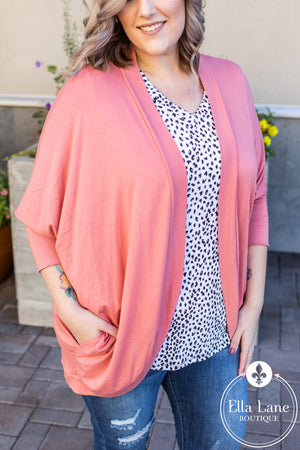 Cocoon Wrap Cardigan - Ash Rose FINAL SALE