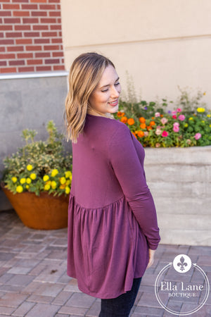 Long Sleeve Peplum Top - Dark Plum