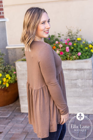 Long Sleeve Peplum Top - Mocha