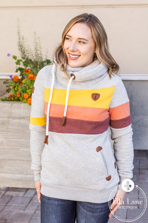 Wanakome Topa Hoodie - Light Heater Grey with Fall Stripes