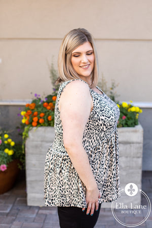 Animal Print Peplum Sleeveless Top - Taupe FINAL SALE