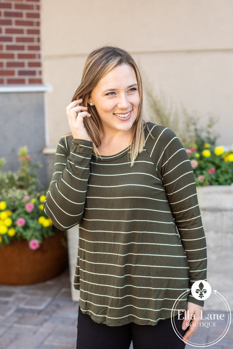 DOORBUSTER Kelsey Stripe Knit Top - Olive FINAL SALE