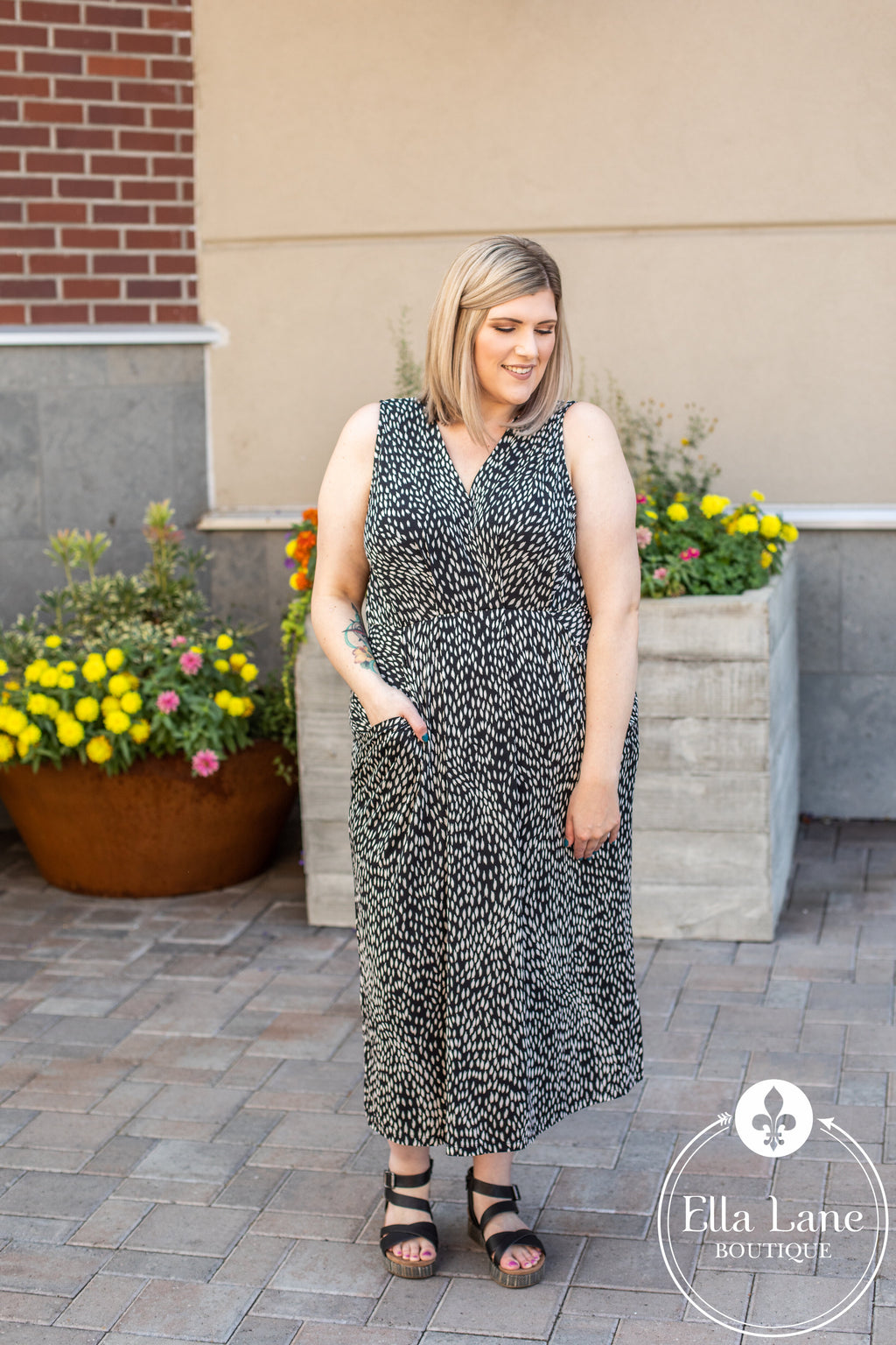 DOORBUSTER Spotted Drape Dress