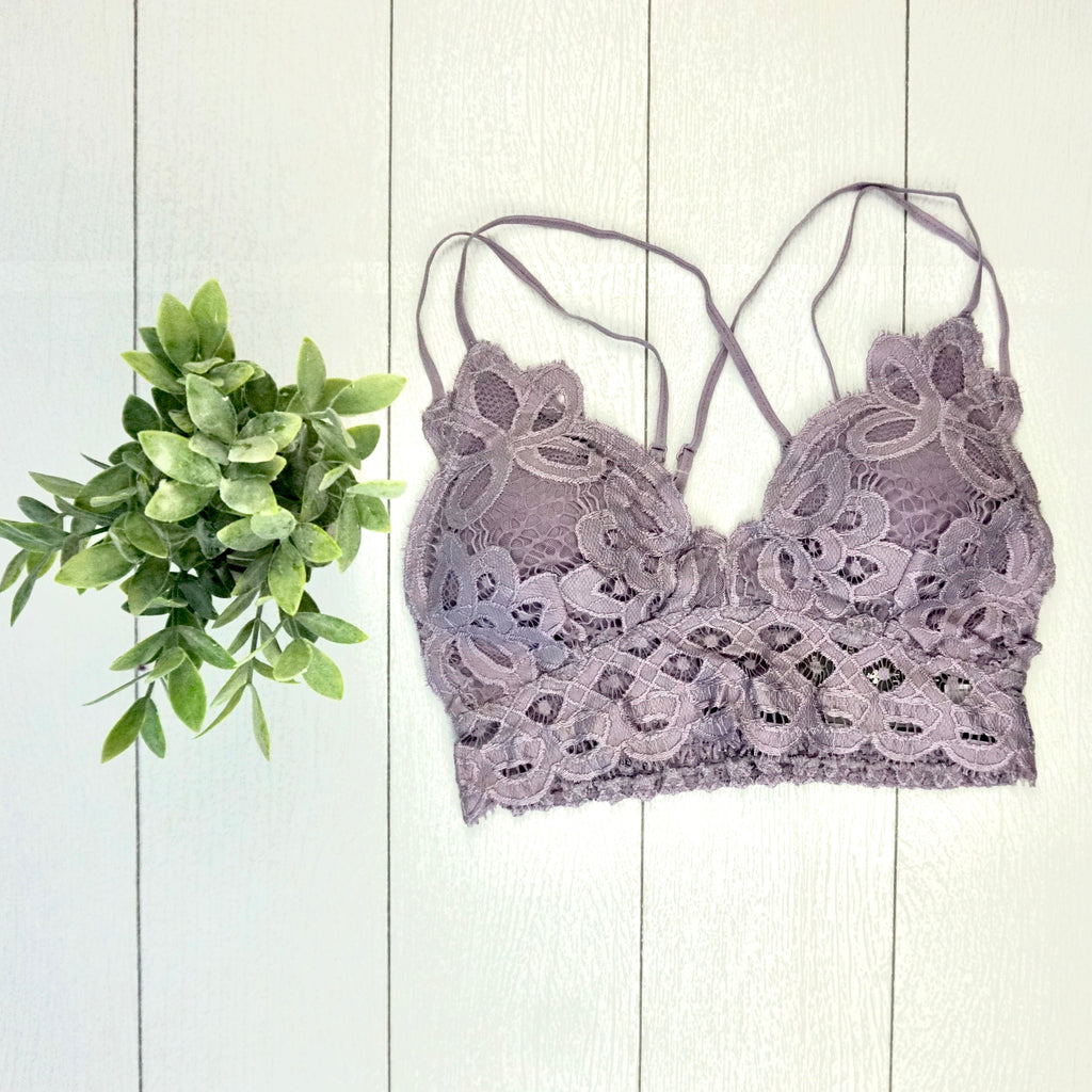 Criss Cross Lace Bralette - Purple Ash