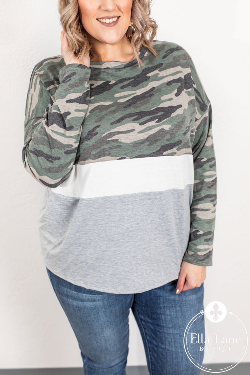 Camo Color Block Top FINAL SALE