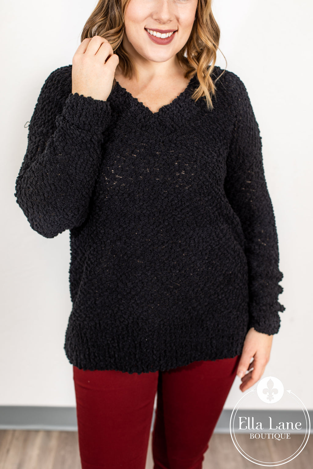 Popcorn V Neck Sweater - Black