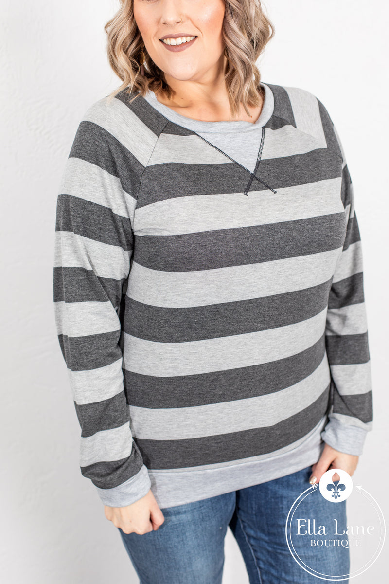 Charcoal Stripes Top FINAL SALE