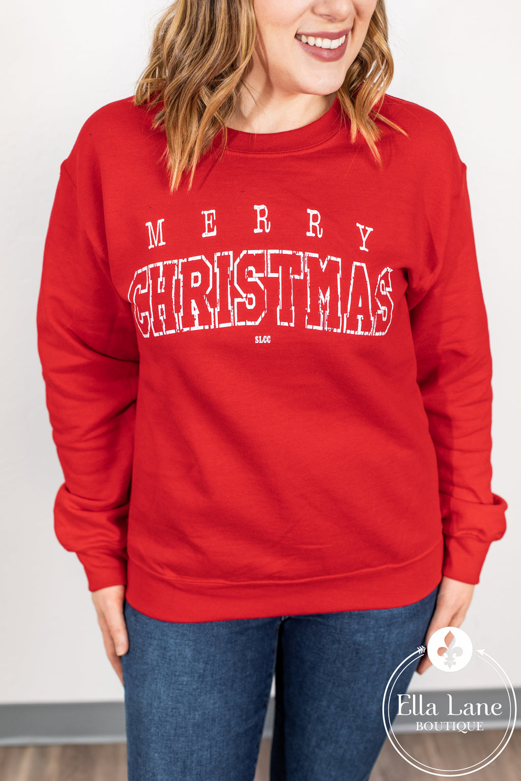 Merry Christmas Pullover Sweatshirt - Red