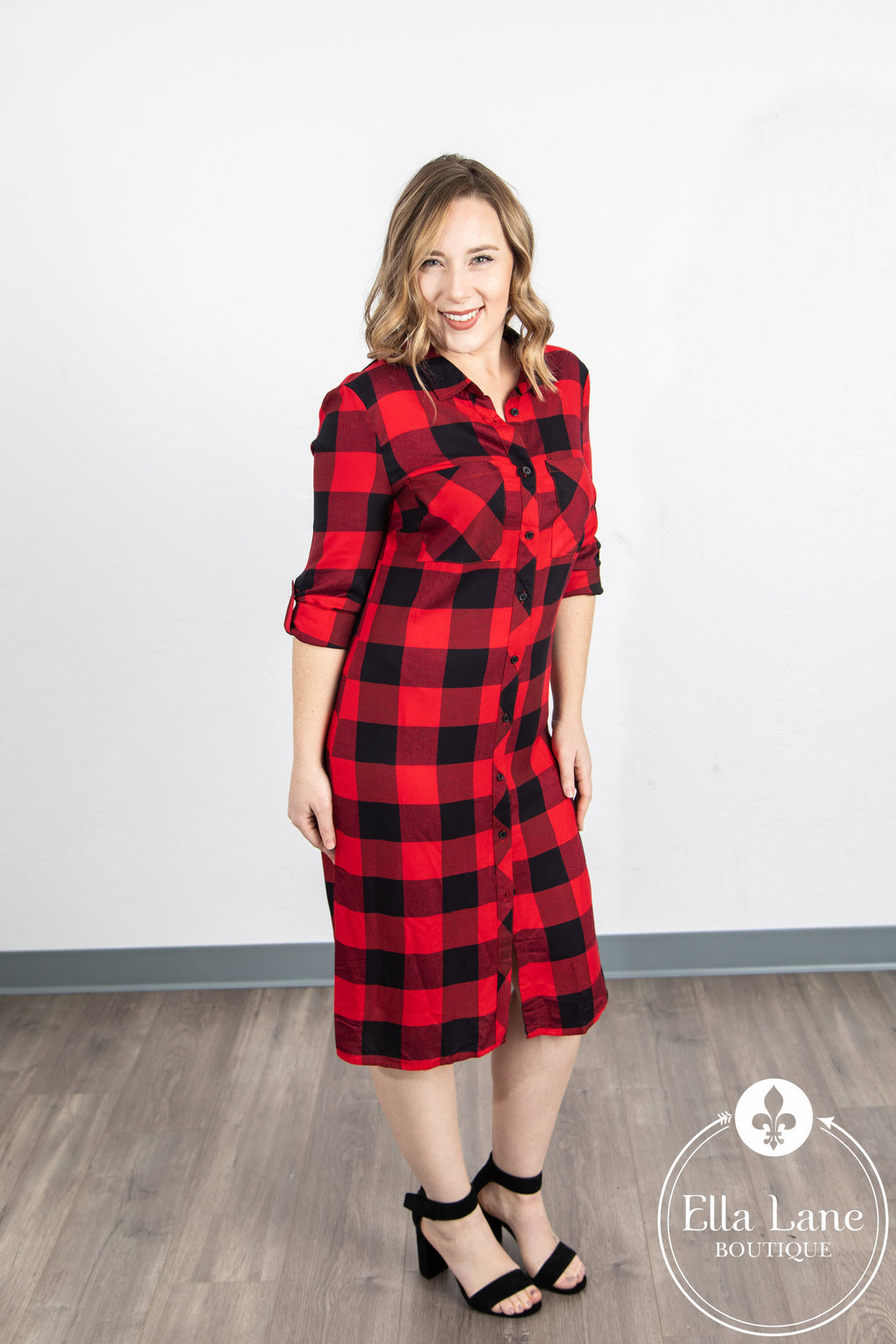 Buffalo Plaid Button Down Dress FINAL SALE