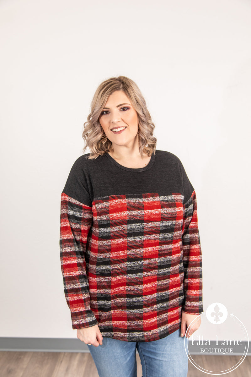 Red/White/Black Plaid Long Sleeve Top FINAL SALE