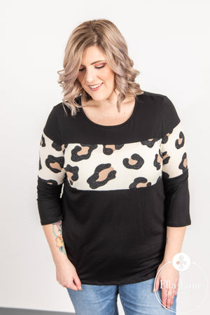 Black and Cheetah Accent Top FINAL SALE