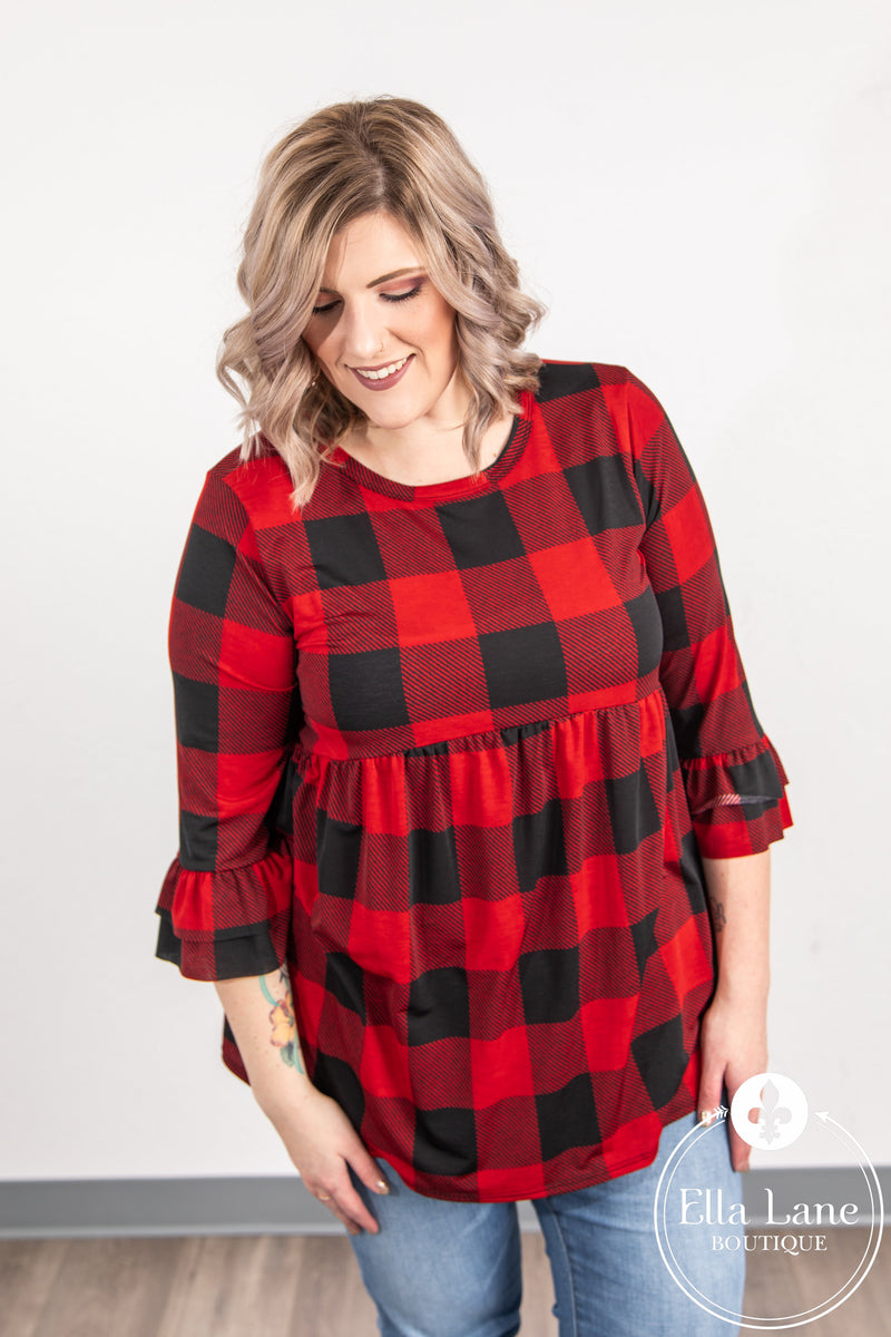 Buffalo Plaid Peplum Top FINAL SALE