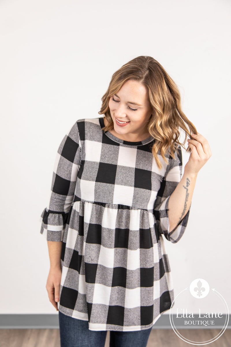 Black and Ivory Plaid Peplum Top FINAL SALE