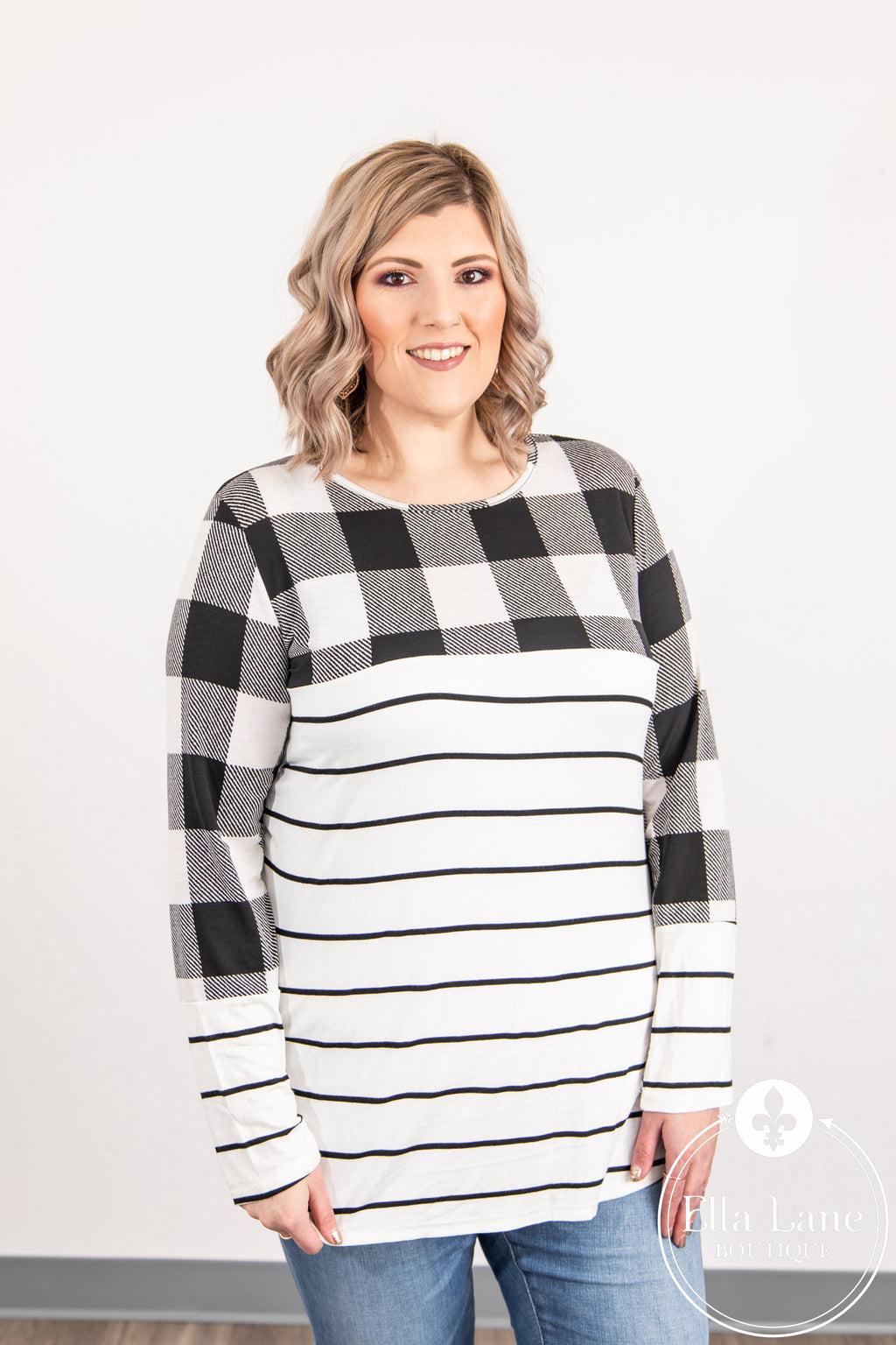 White Plaid and Stripes Top