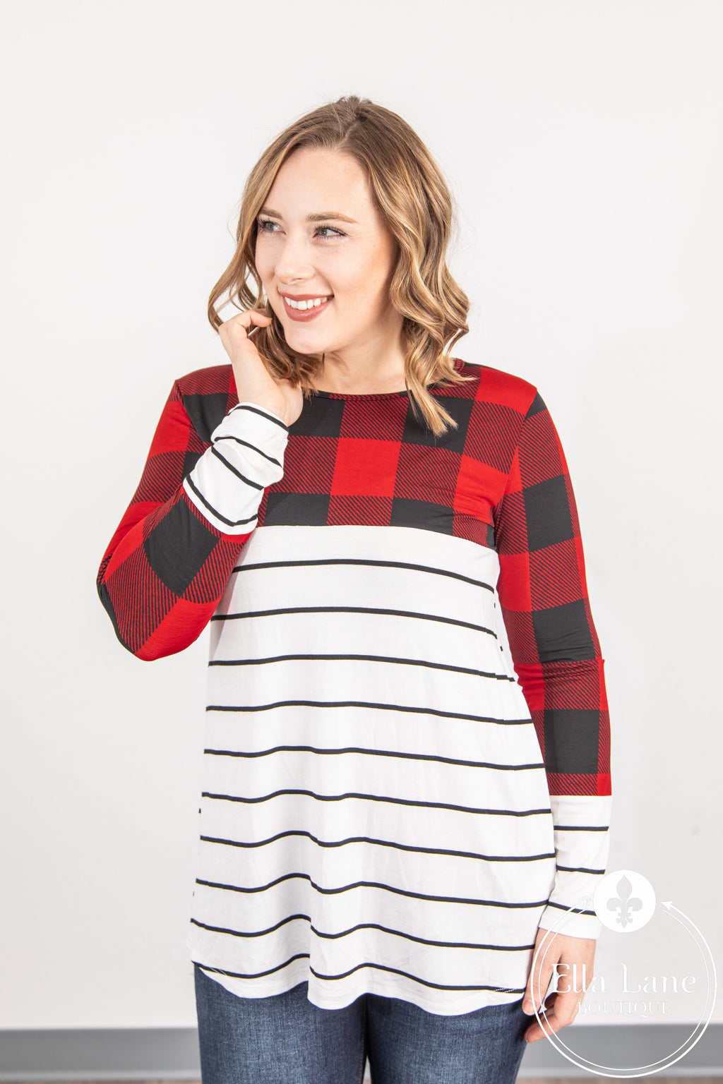 Red Plaid and Stripes Top