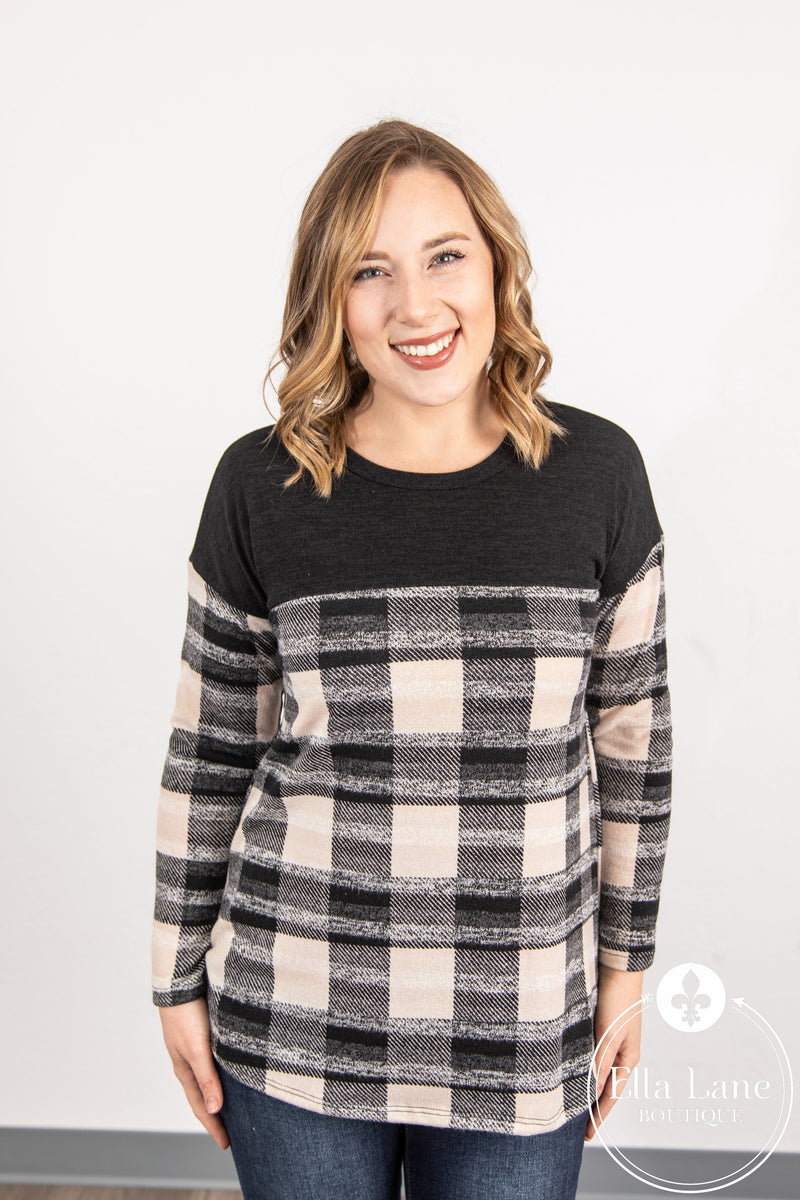 Beige/White/Black Plaid Long Sleeve Top