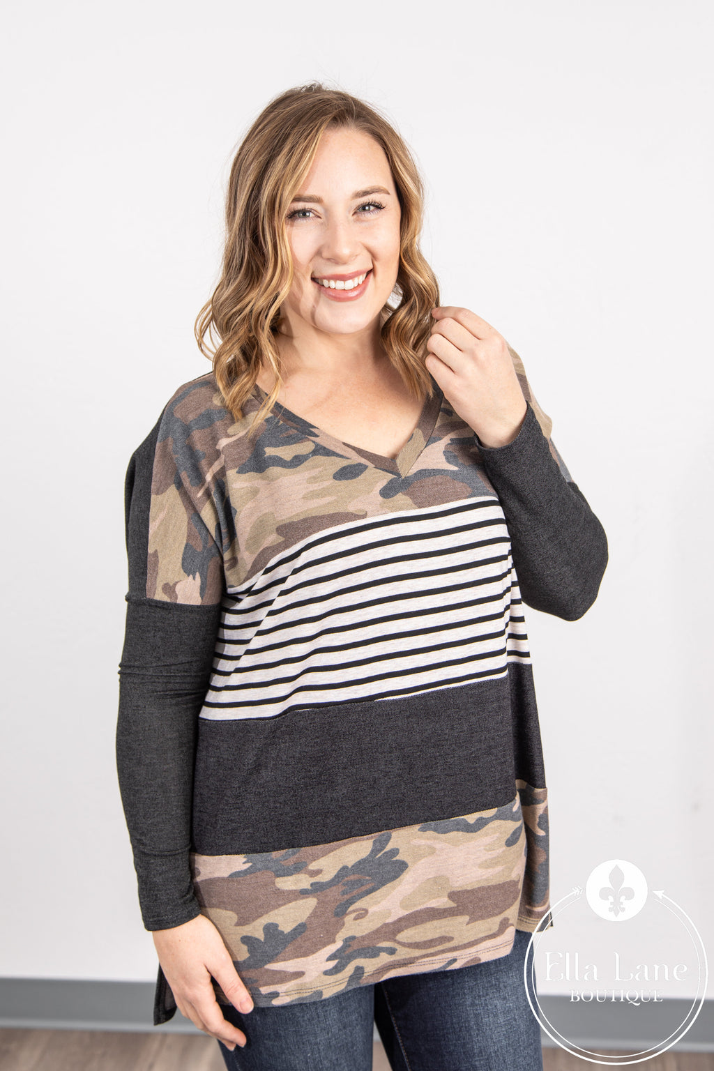 Camo and Stripes Color Block V Neck Top FINAL SALE
