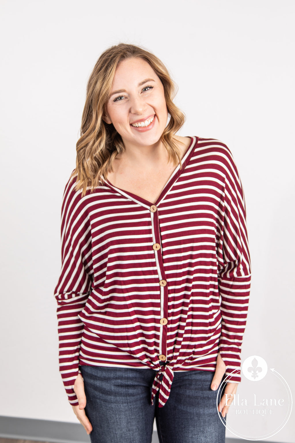 Emma Stripe Top - Burgundy FINAL SALE