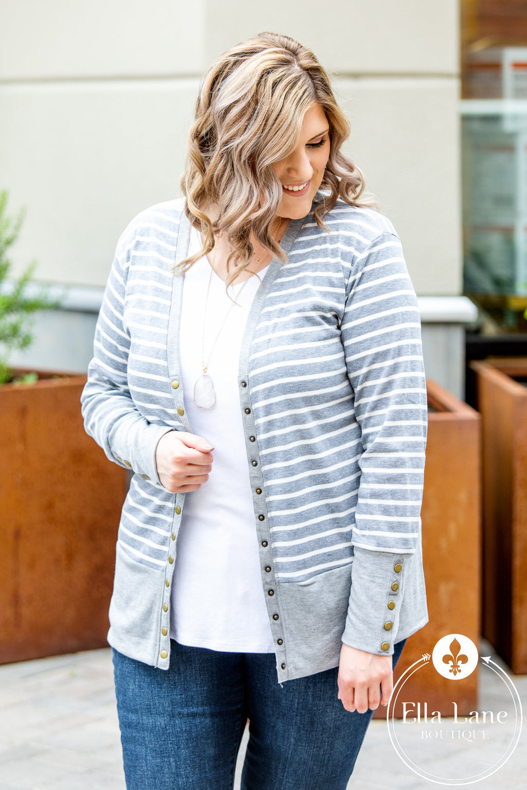 Snap Cardigan - Grey and White Stripes