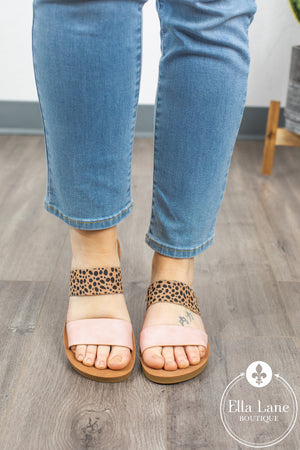 Leopard Slide Sandals - Blush Accent