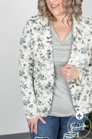 Floral French Terry Blazer