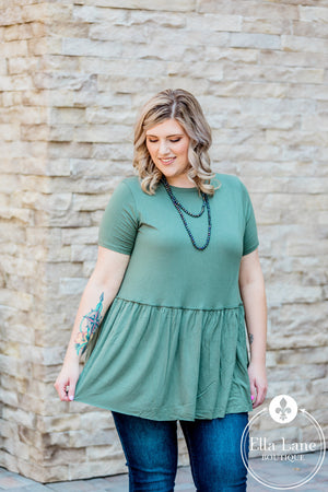 Bailey Babydoll Top - Olive - FINAL SALE