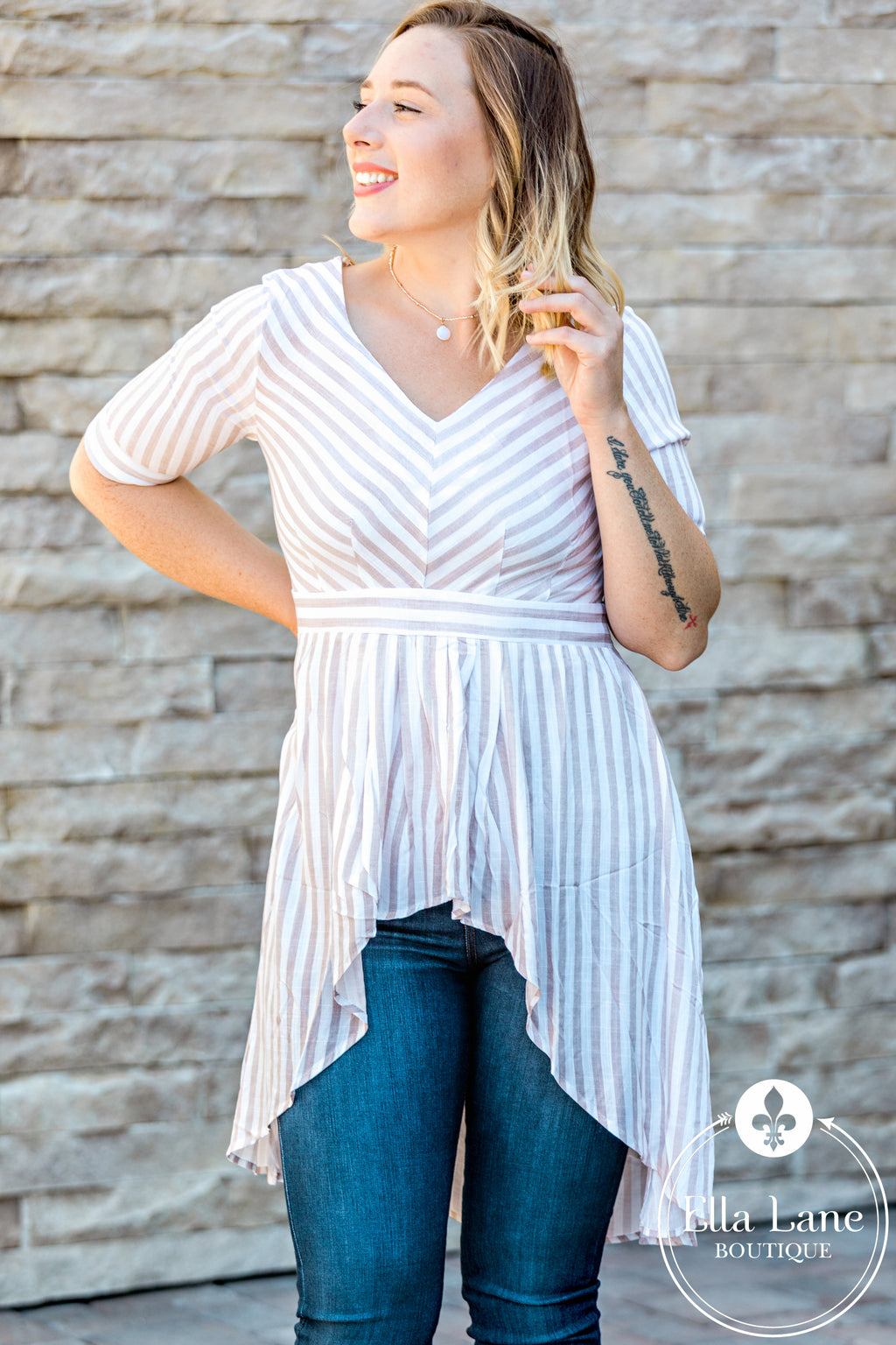 High-Low Striped Peplum Top FINAL SALE